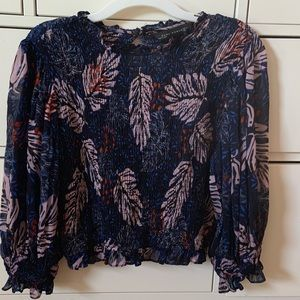 Zara flowery blouse size S. Sheer puffy sleeves